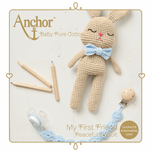 Peaceful Rabbit Toy & Dummy Clip Baby Pure Cotton Amigurumi Crochet Kit