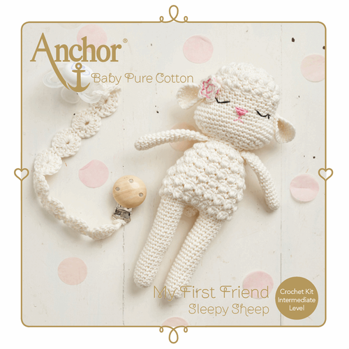 Sleepy Sheep Toy & Dummy Clip Baby Pure Cotton Amigurumi Crochet Kit