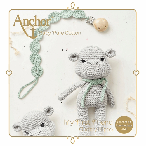 Cuddly Hippo Toy & Dummy Clip Baby Pure Cotton Amigurumi Crochet Kit