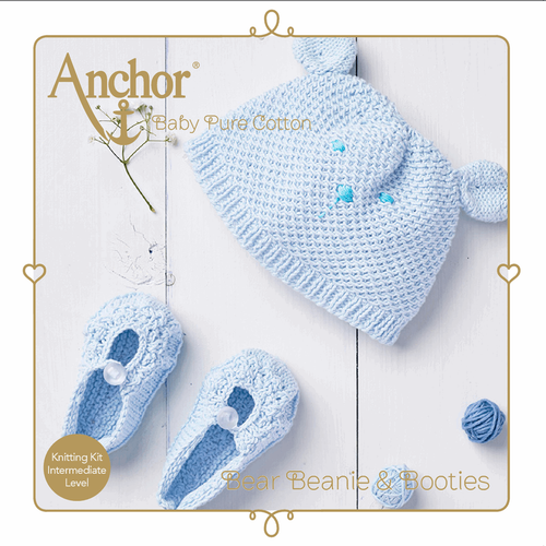 Blue Bear Beanie & Booties Baby Pure Cotton Knitting Kit