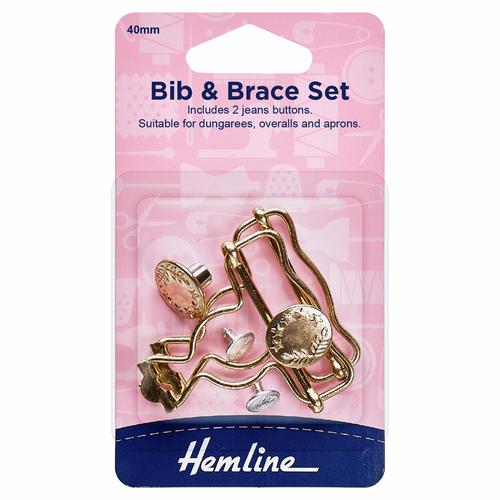 Gold 40mm Bib & Brace Set (2pc)