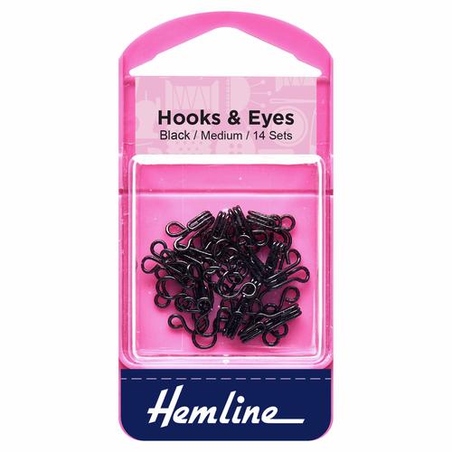 Hooks & Eyes - Black - Medium, Size 2