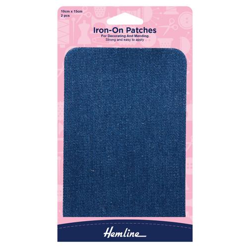 Mid Denim Iron-on Fabric Repair Patches, 10cm x 15cm (2pc)