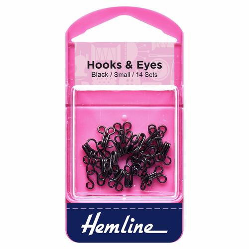 Hooks & Eyes - Black - Small, Size 1
