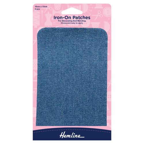 Light Denim Iron-on Fabric Repair Patches, 10cm x 15cm (2pc)