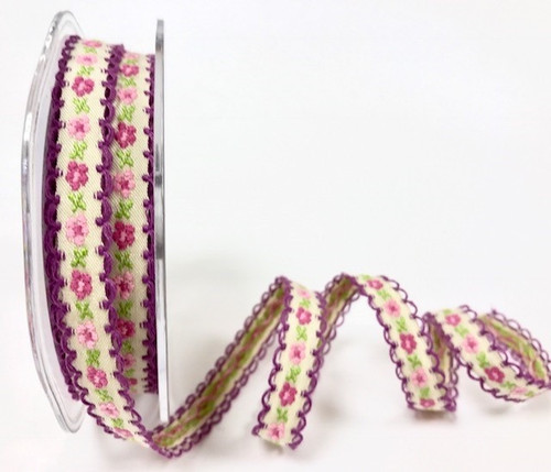 Pale Pink & Deep Pink Flowers woven in to Cream Ribbon with Plum Scalloped Edge, 12mm wide (Sold Per Metre)