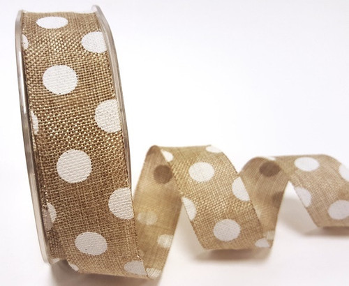 Jumbo White Polka Dot on Natural Faux Burlap Ribbon, 25mm wide (Sold Per Metre)