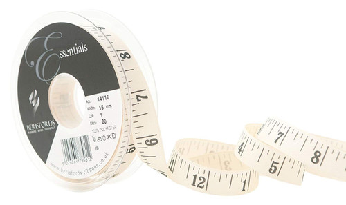 Black Tape Measure Print on Cream Canvas Ribbon, 15mm wide (Sold Per Metre)