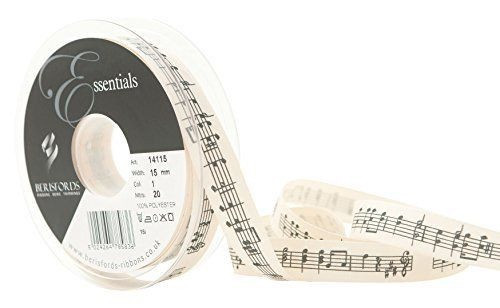 Black Music Note Print on Cream Canvas Ribbon, 15mm wide (Sold Per Metre)