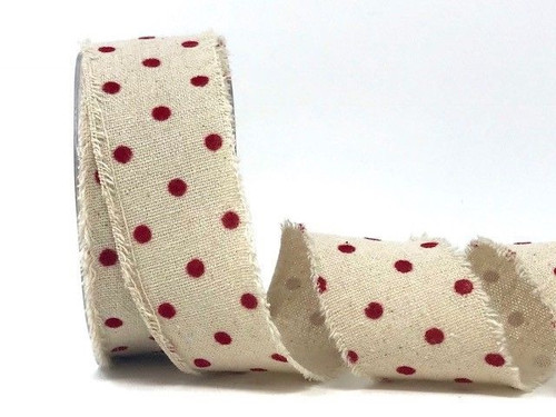 Deep Red Flocked Polka Dots on Natural Ribbon with Frayed Edge, 38mm wide (Sold Per Metre)