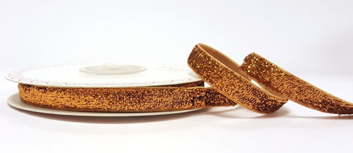 Copper Metallic Velvet Ribbon, 10mm wide (Sold Per Metre)