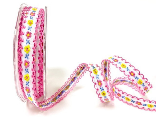 Pink & Yellow Flowers woven in to White Ribbon with Pink Scalloped Edge, 12mm wide (Sold Per Metre)