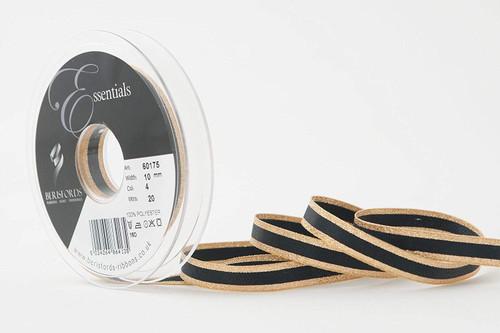 "Metallic Gold Edge on Black Bold Stripe ""Winter Stripe"" Ribbon, 10mm wide (Sold Per Metre)"