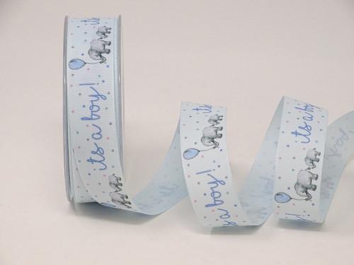 It's a Boy Blue Ribbon, 25mm wide (Sold Per Metre)