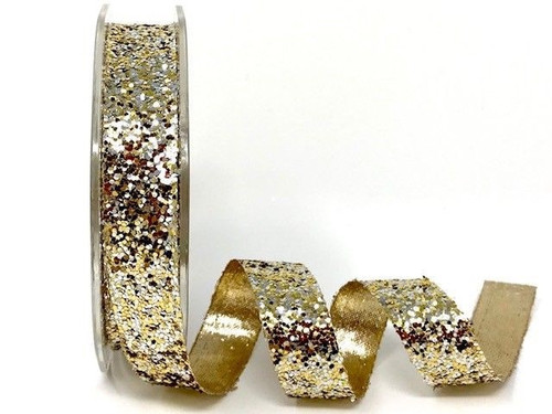 Gold & Silver Chunky Glitter Ribbon, 15mm wide (Sold Per Metre)