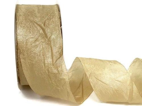 Champagne Silky Crush Ribbon, 38mm wide (Sold Per Metre)