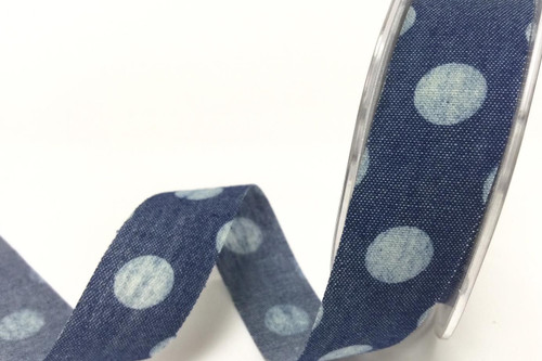 Jumbo Polka Dot Blue Denim Style Ribbon with Frayed Edge, 25mm wide (Sold Per Metre)
