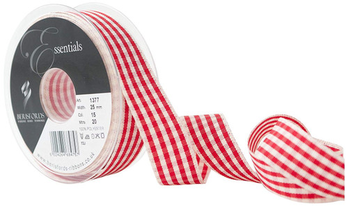 Red & Ivory Rustic Gingham Ribbon, 25mm wide (Sold Per Metre)