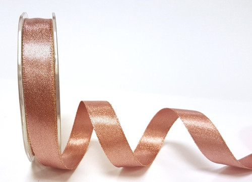 Rose Gold/Copper Metallic Sparkle Satin Ribbon, 15mm wide (Sold Per Metre)