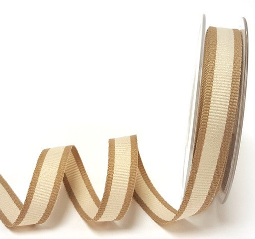 Ivory Bold Stripe with Tan Edge Ribbon, 15mm wide (Sold Per Metre)