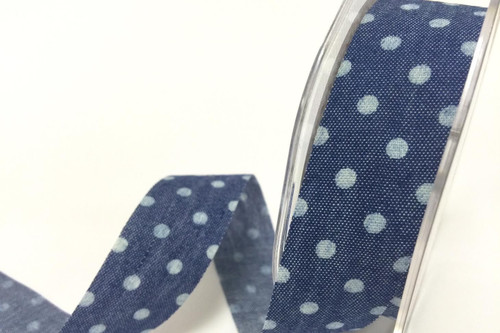 Polka Dot Blue Denim Style Ribbon with Frayed Edge, 25mm wide (Sold Per Metre)