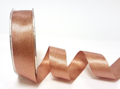 Rose Gold/Copper Metallic Sparkle Satin Ribbon, 25mm wide (Sold Per Metre)