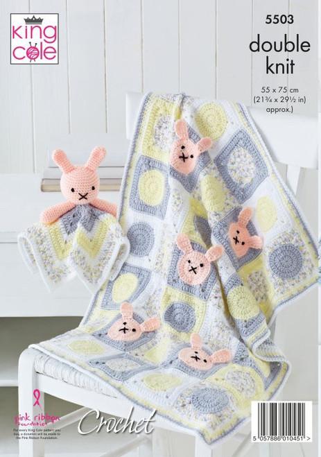5503 Baby Blanket, Comforter & Toy DK Crochet Pattern Size: 55 x 75cm