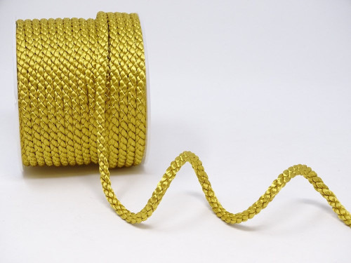 Ant. Gold Woven Satin Crepe Cord, 6mm wide (Sold Per Metre)