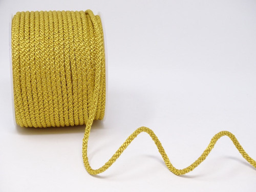 Ant. Gold Woven Satin Lacing Cord, 4mm wide (Sold Per Metre)
