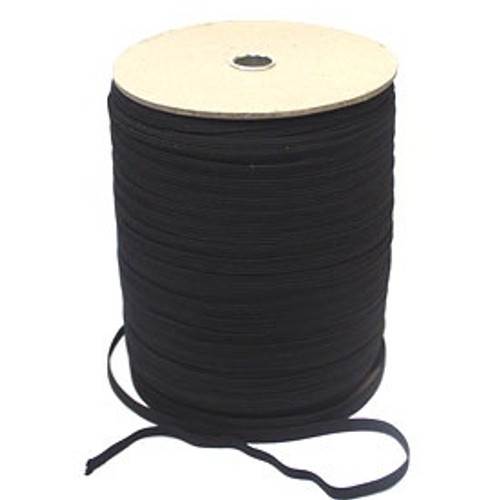Black 16-cord Flat Woven Elastic, 12.5mm wide (Sold Per Metre)