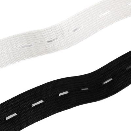 Black Buttonhole Elastic, 18mm wide (Sold Per Metre)