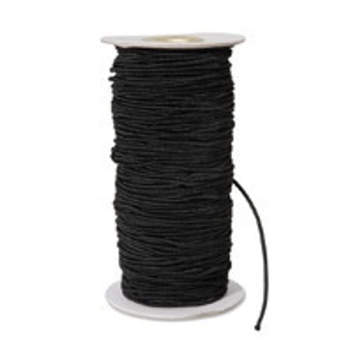 "Black Round/Cord ""Hat"" Elastic, 1mm wide (Sold Per Metre)"