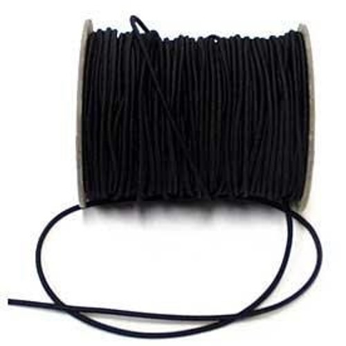 Black Round/Cord Elastic, 2mm wide (Sold Per Metre)