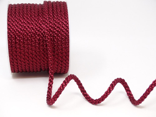 Burgundy Woven Satin Crepe Cord, 6mm wide (Sold Per Metre)