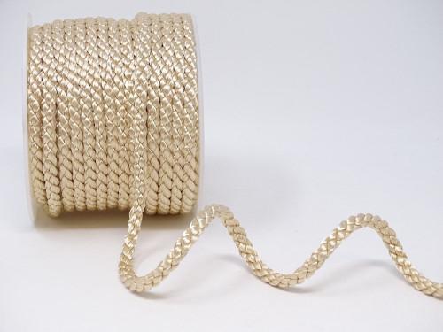Cream Woven Satin Crepe Cord, 6mm wide (Sold Per Metre)