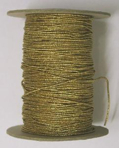 "Metallic Gold Round/Cord ""Hat"" Elastic, 1mm wide (Sold Per Metre)"