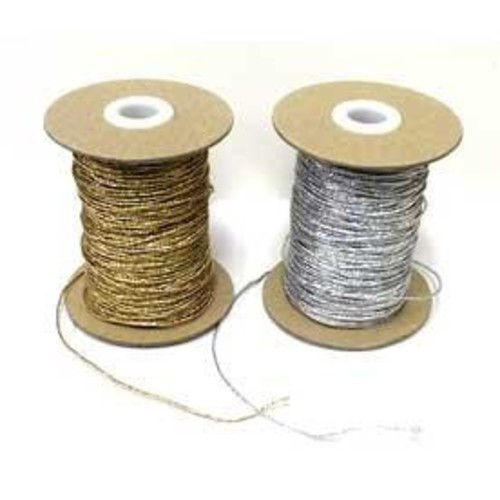 "Metallic Silver Round/Cord ""Hat"" Elastic, 1mm wide (Sold Per Metre)"
