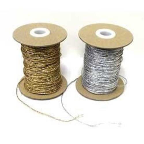 "Metallic Silver Round/Cord ""Hat"" Elastic, 1mm wide (Sold Per Metre)"