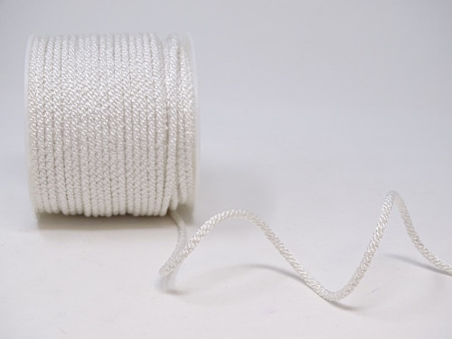 White Woven Satin Lacing Cord, 4mm wide (Sold Per Metre)