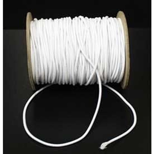 White Round/Cord Elastic, 2mm wide (Sold Per Metre)