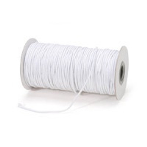 "White Round/Cord ""Hat"" Elastic, 1mm wide (Sold Per Metre)"