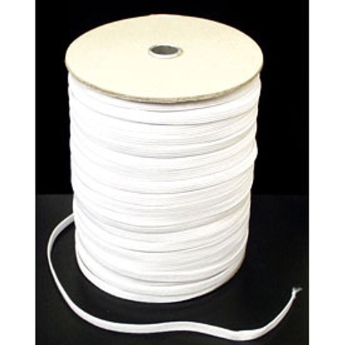 White 8-cord Flat Woven Elastic, 6mm wide (Sold Per Metre)