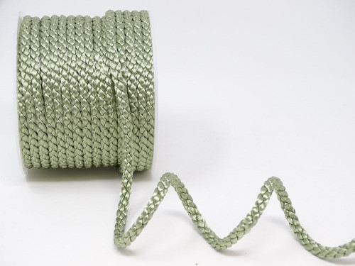 Soft Sage Green Woven Satin Crepe Cord, 6mm wide (Sold Per Metre)