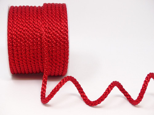 Red Woven Satin Crepe Cord, 6mm wide (Sold Per Metre)