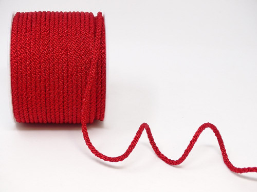 Red Woven Satin Lacing Cord, 4mm wide (Sold Per Metre)