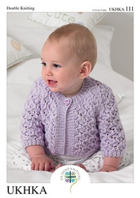 "111 Baby Cardigan DK Knitting Pattern Size: 12-20"""
