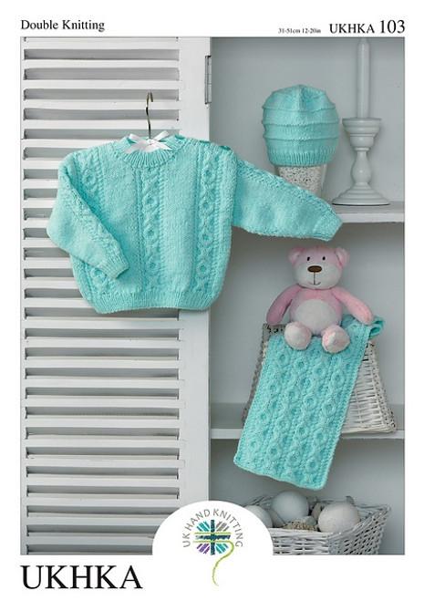 "103 Baby Blanket & Cardigan DK Knitting Pattern Size: 12-20"""