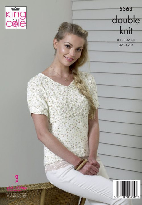 """5363 Ladies & Teens Top & Tunic Cottonsoft Candy DK Knitting Pattern Size: 32-42"""""""