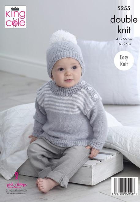 "5255 Baby Sweaters & Hats DK Knitting Pattern Size: 16-26"""