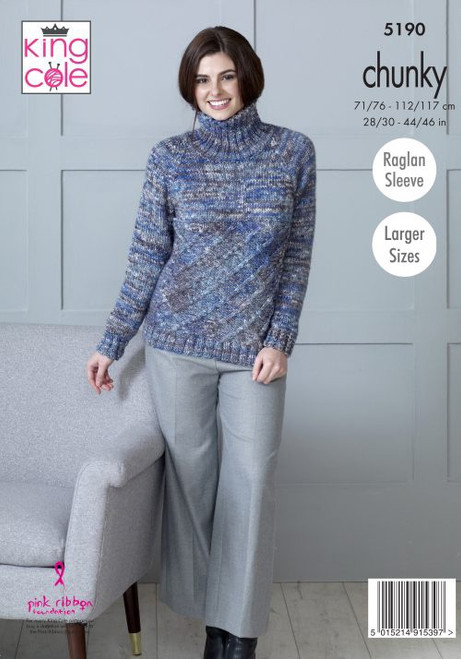 "5190 Ladies & Teens Cardigan Shadow Chunky Chunky Knitting Pattern Size: 28/30"" - 44/46"""